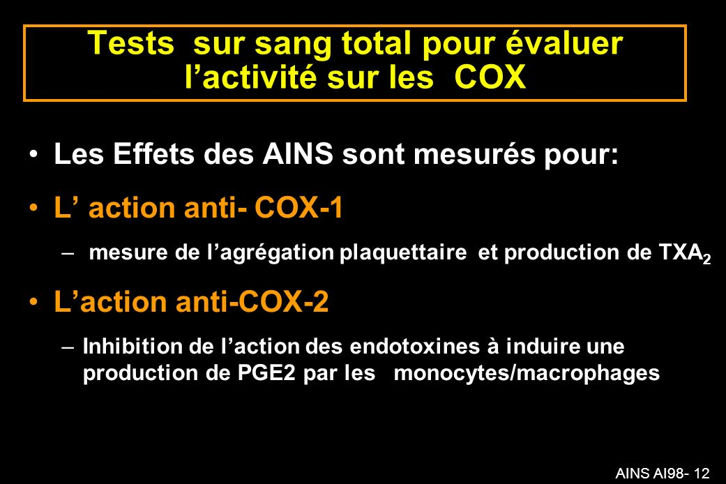 Tests sur sang total pour évaluer l'activité sur les COX