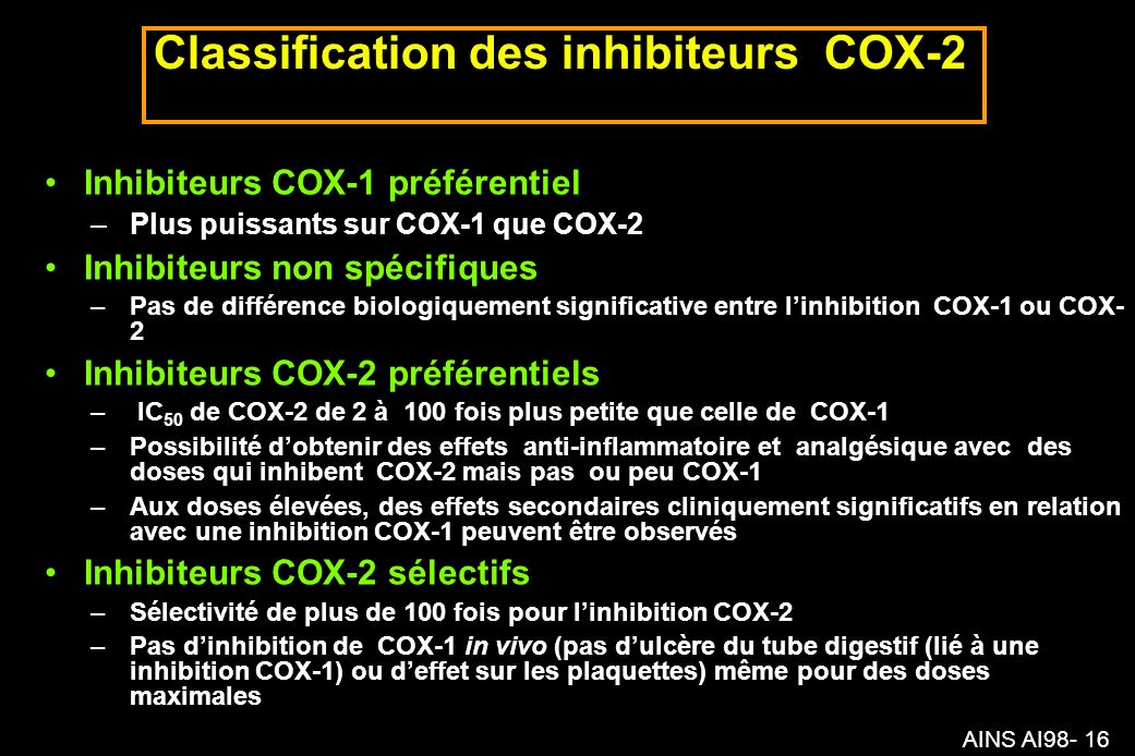 Classification des inhibiteurs COX-2