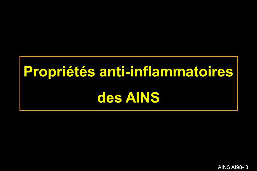 Propriétés anti-inflammatoires des AINS