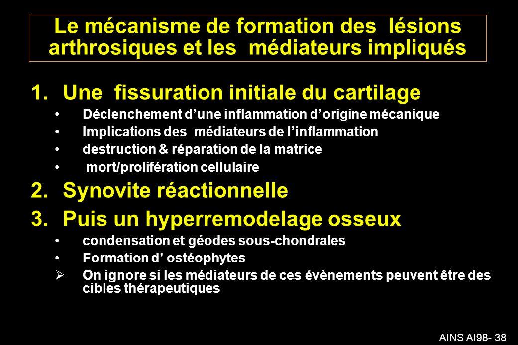Une fissuration initiale du cartilage