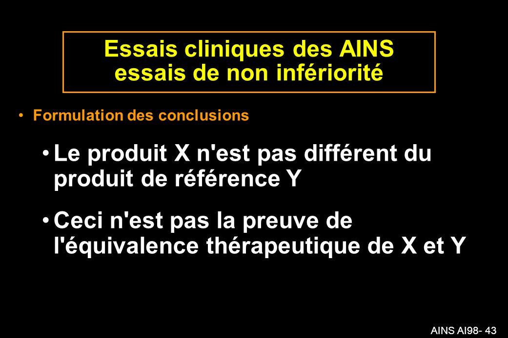 Essais cliniques des AINS essais de non infériorité