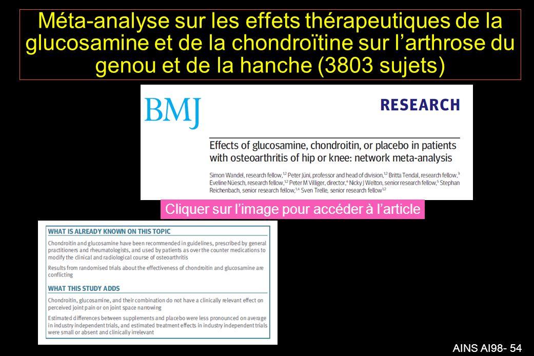 Méta-analyse sur les effets thérapeutiques de la glucosamine et de la chondroïtine sur l'arthrose du genou et de la hanche (3803 sujets)