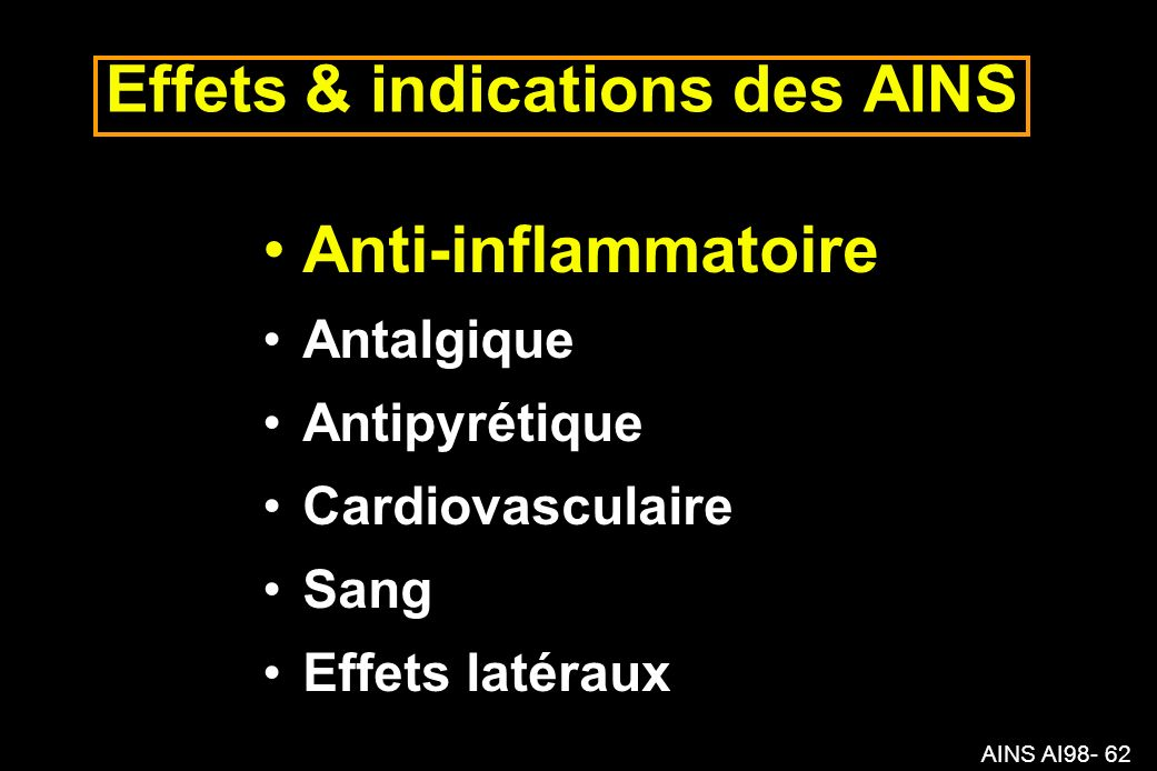 Effets & indications des AINS