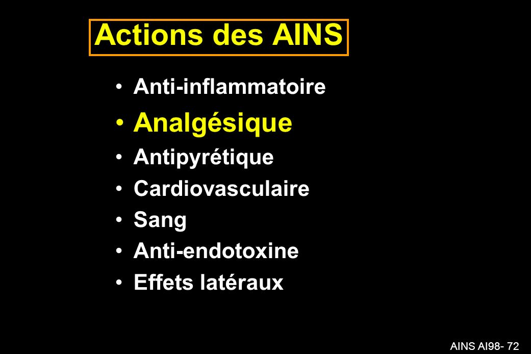 Actions des AINS Analgésique Anti-inflammatoire Antipyrétique