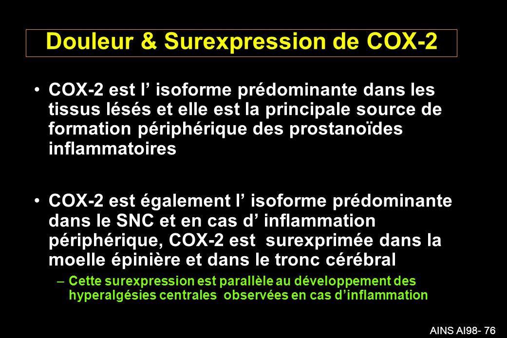 Douleur & Surexpression de COX-2