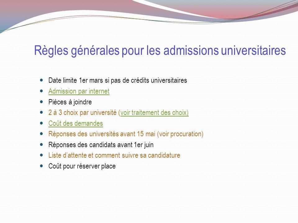 Règles générales pour les admissions universitaires