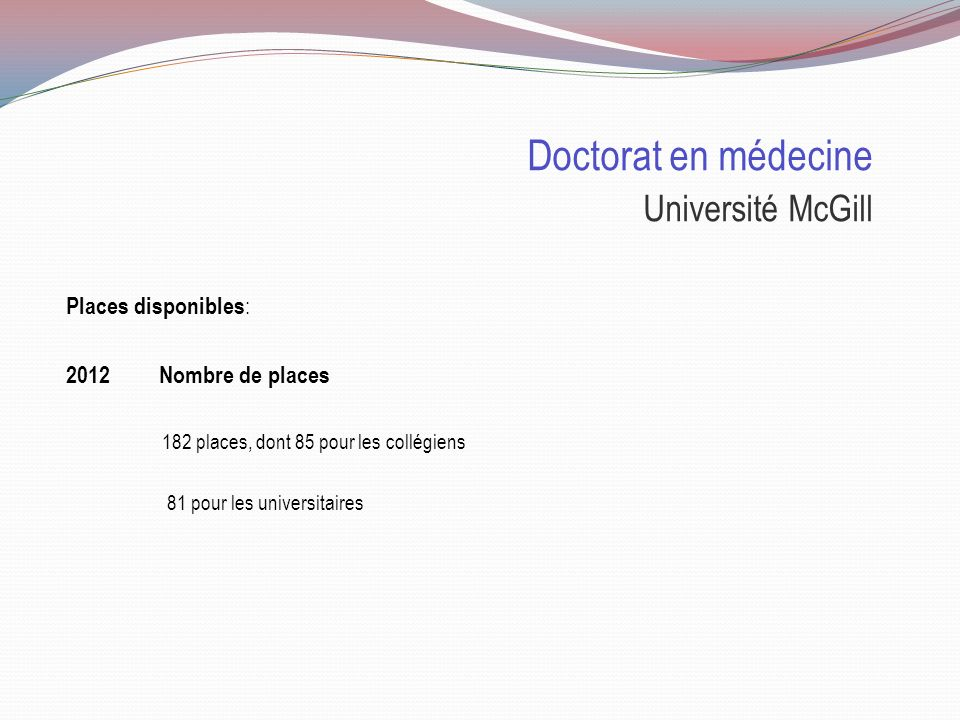 Doctorat en médecine Université McGill