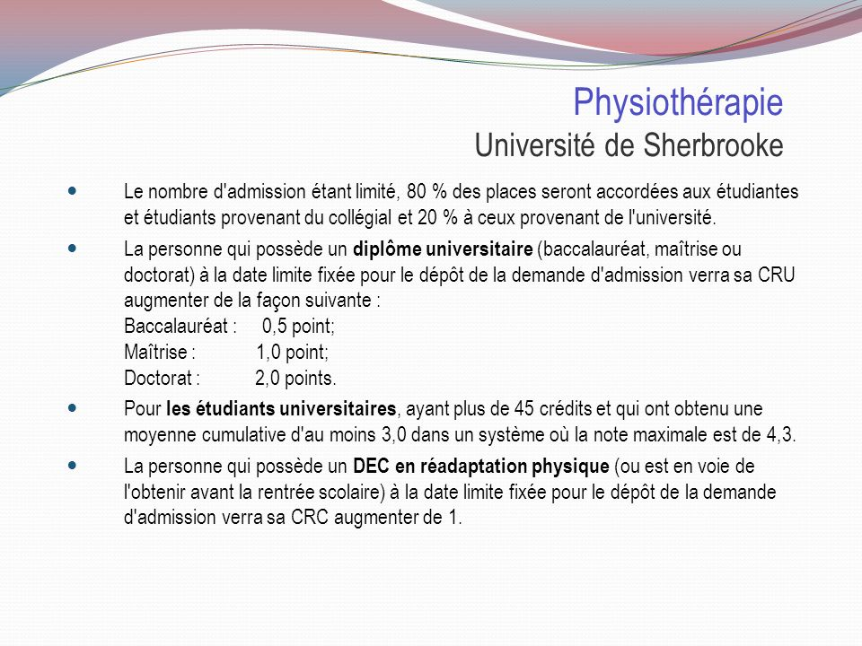Physiothérapie Université de Sherbrooke