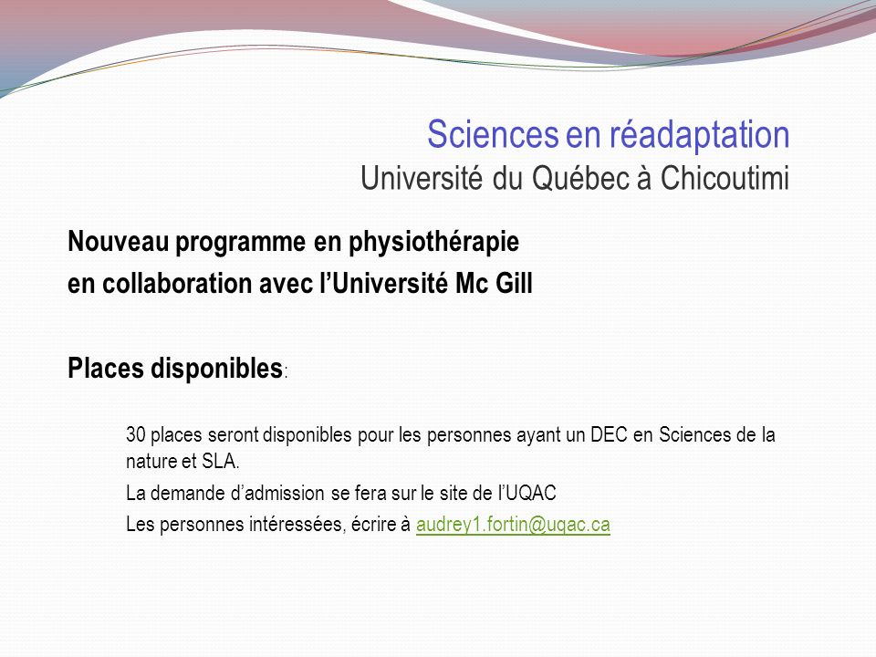 Sciences en réadaptation Université du Québec à Chicoutimi