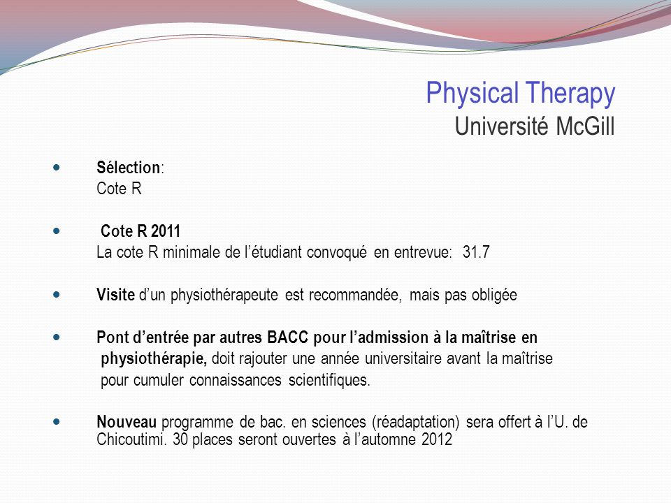 Physical Therapy Université McGill