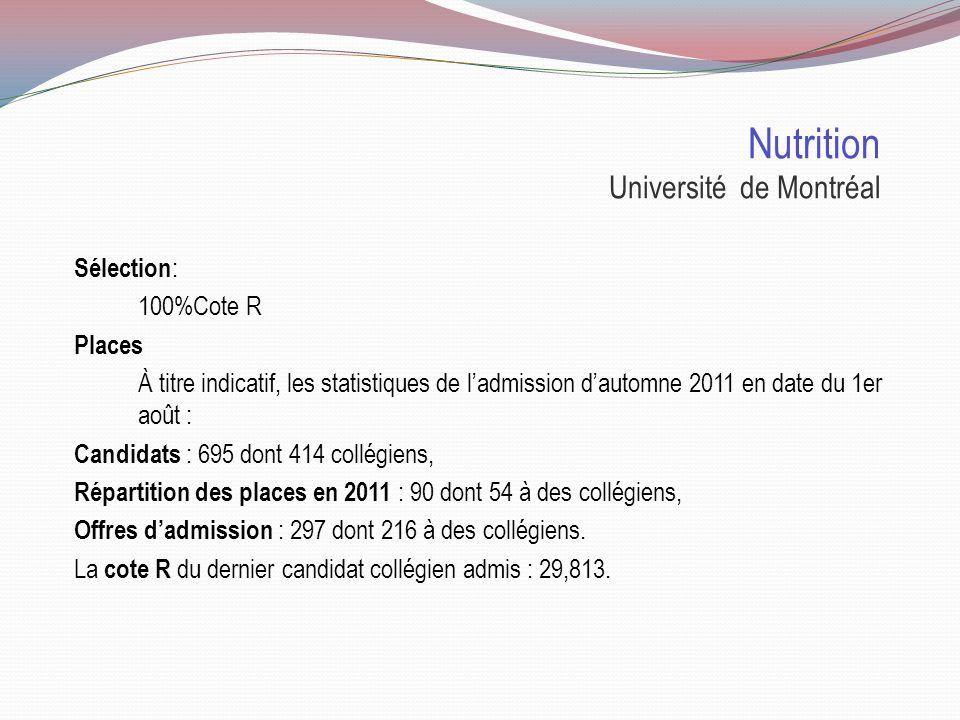 Nutrition Université de Montréal