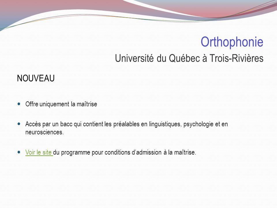 Orthophonie Université du Québec à Trois-Rivières