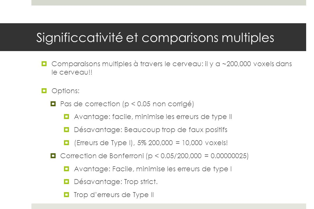 Significcativité et comparisons multiples