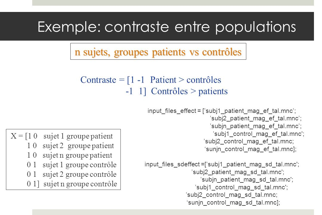 Exemple: contraste entre populations