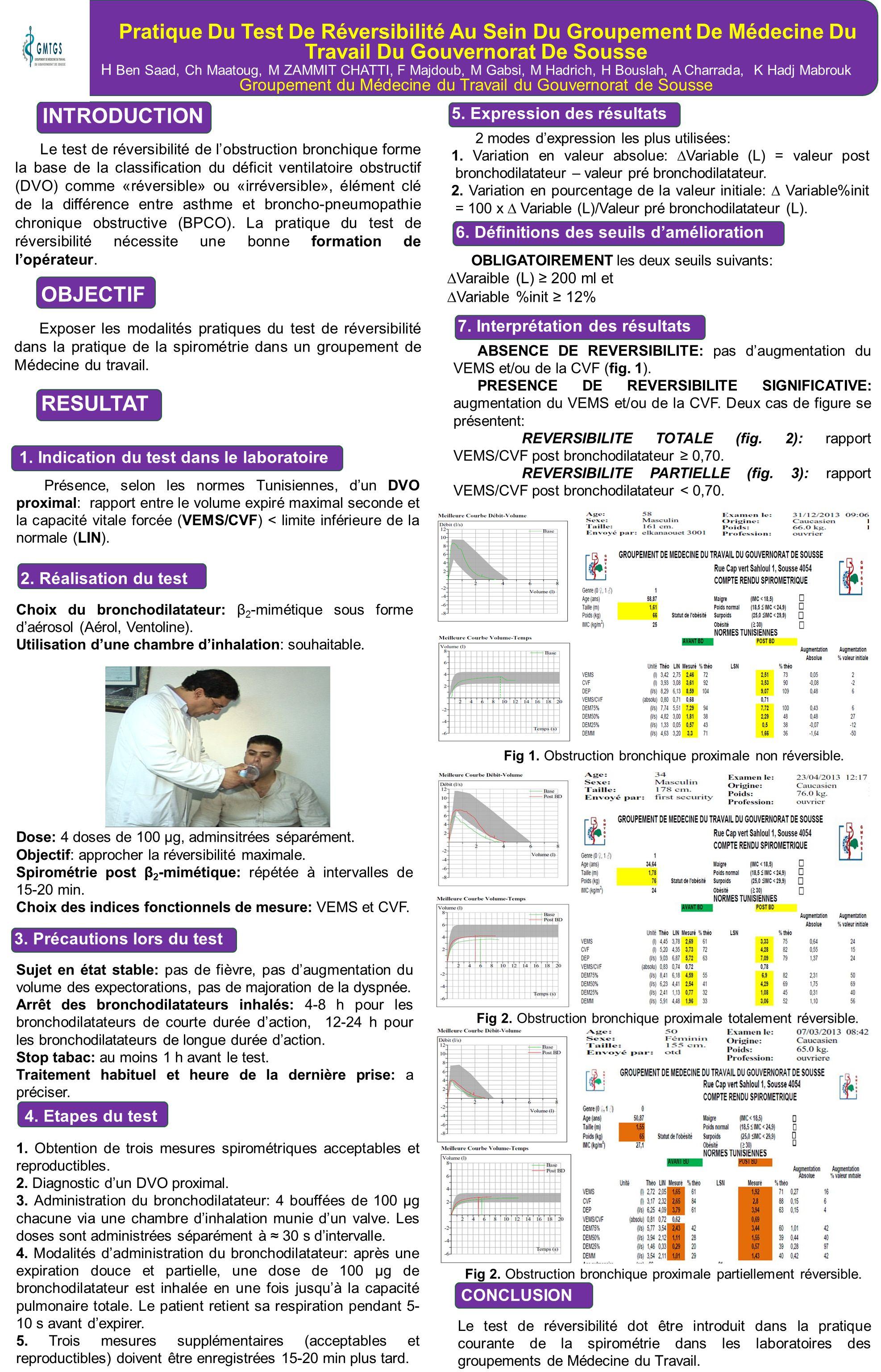 Pratique Du Test De Réversibilité Au Sein Du Groupement De Médecine Du Travail Du Gouvernorat De Sousse