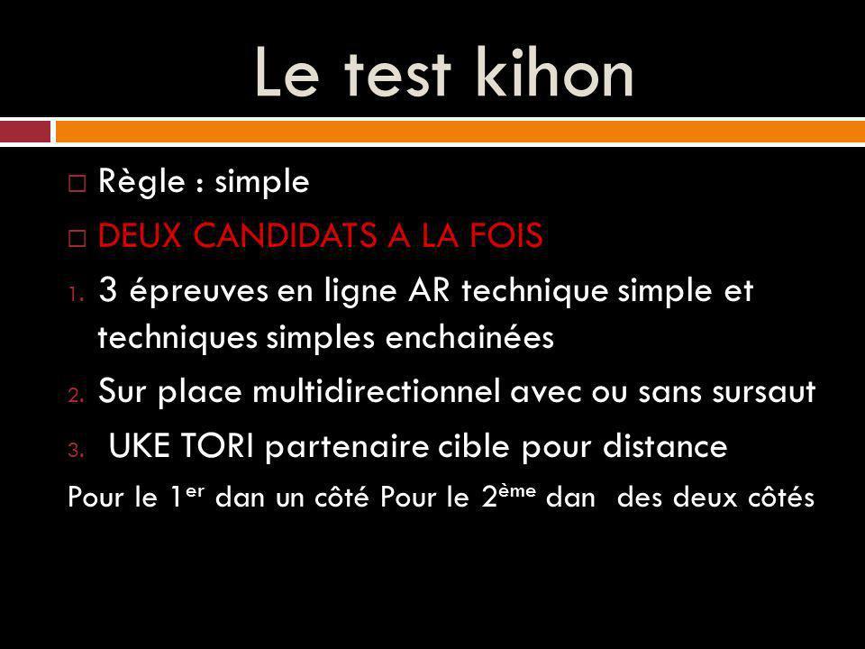 Le test kihon Règle : simple DEUX CANDIDATS A LA FOIS