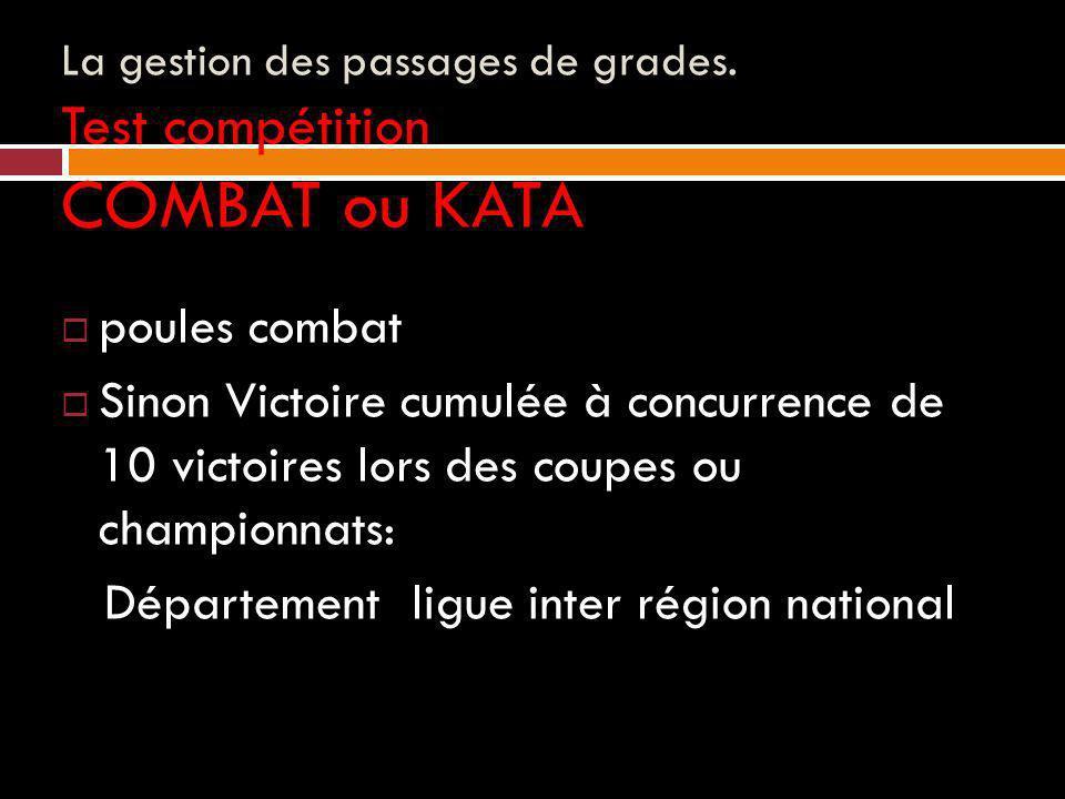 La gestion des passages de grades. Test compétition COMBAT ou KATA