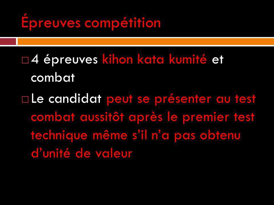 Épreuves compétition 4 épreuves kihon kata kumité et combat