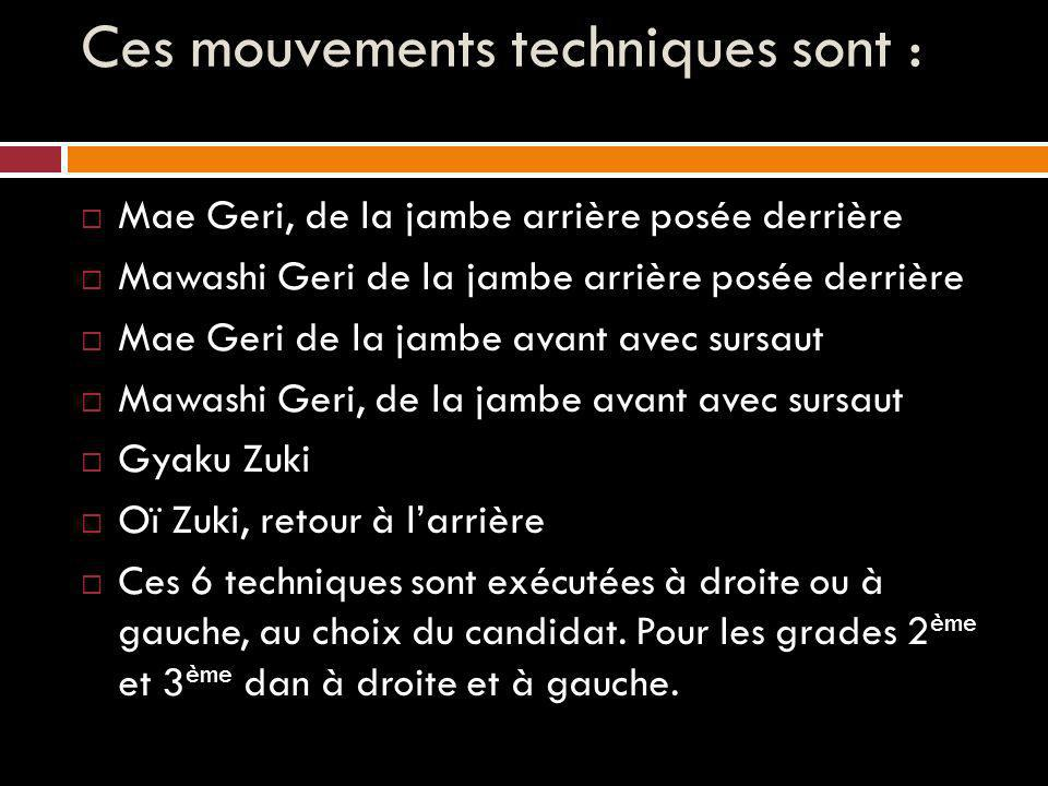 Ces mouvements techniques sont :