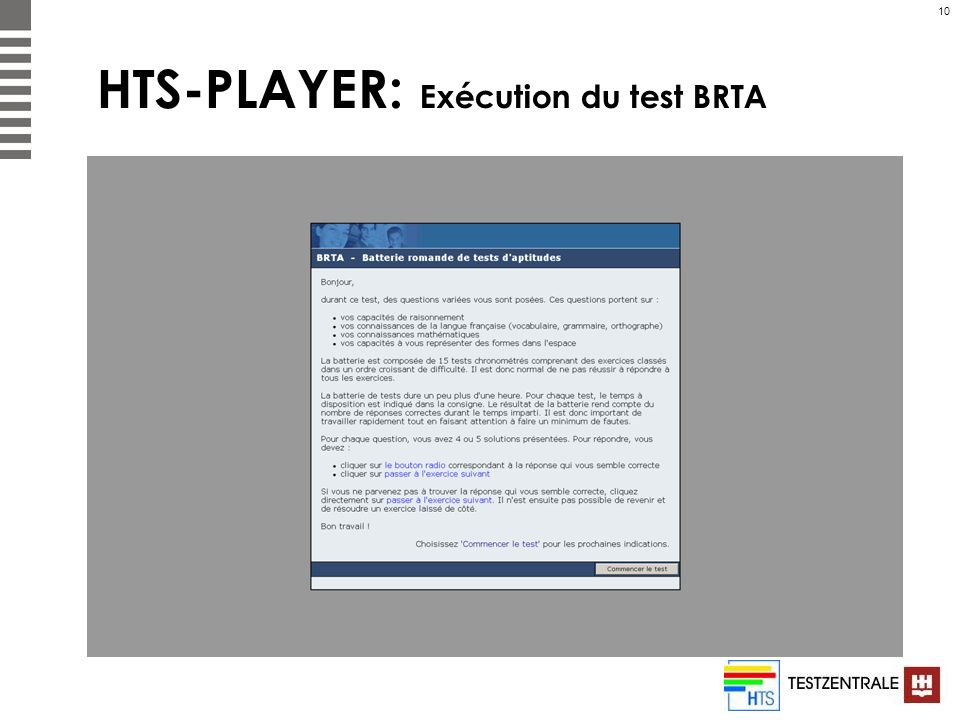 HTS-PLAYER: Exécution du test BRTA