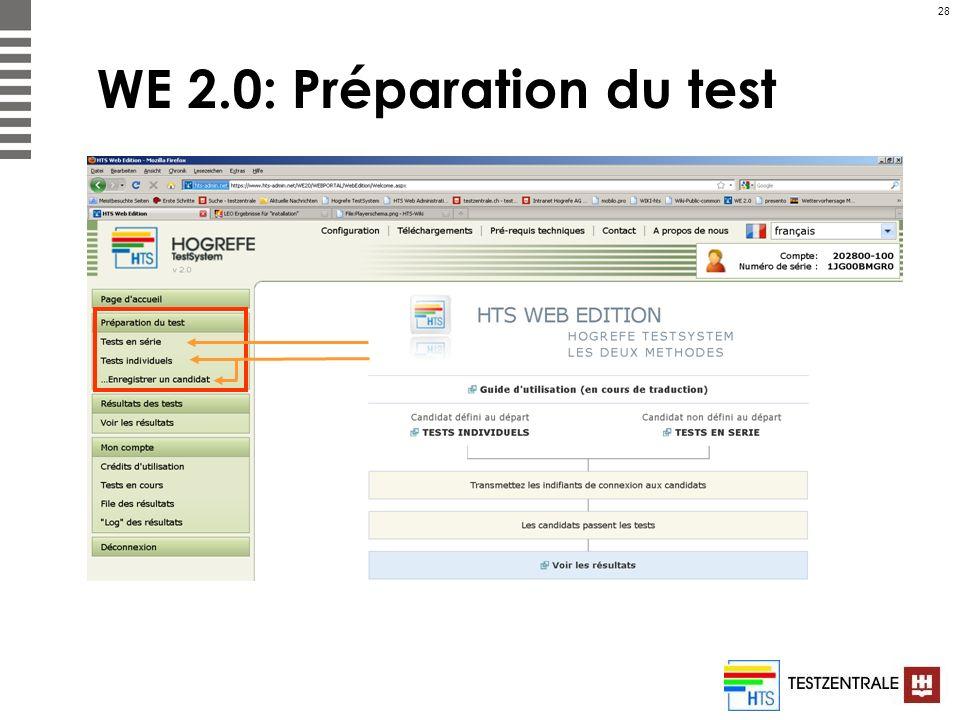 WE 2.0: Préparation du test
