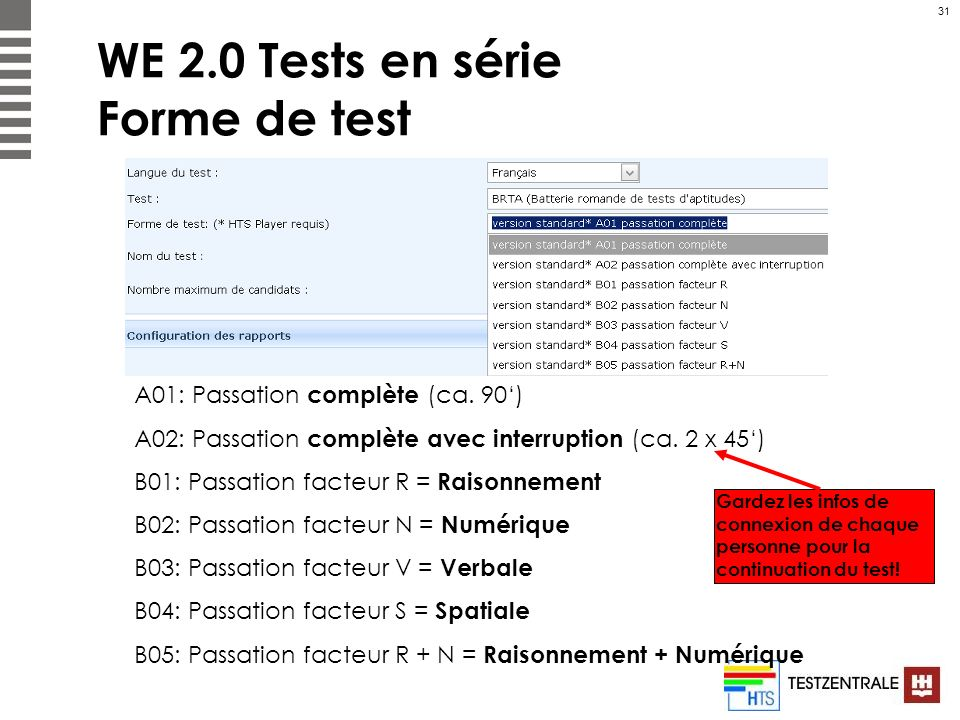 WE 2.0 Tests en série Forme de test