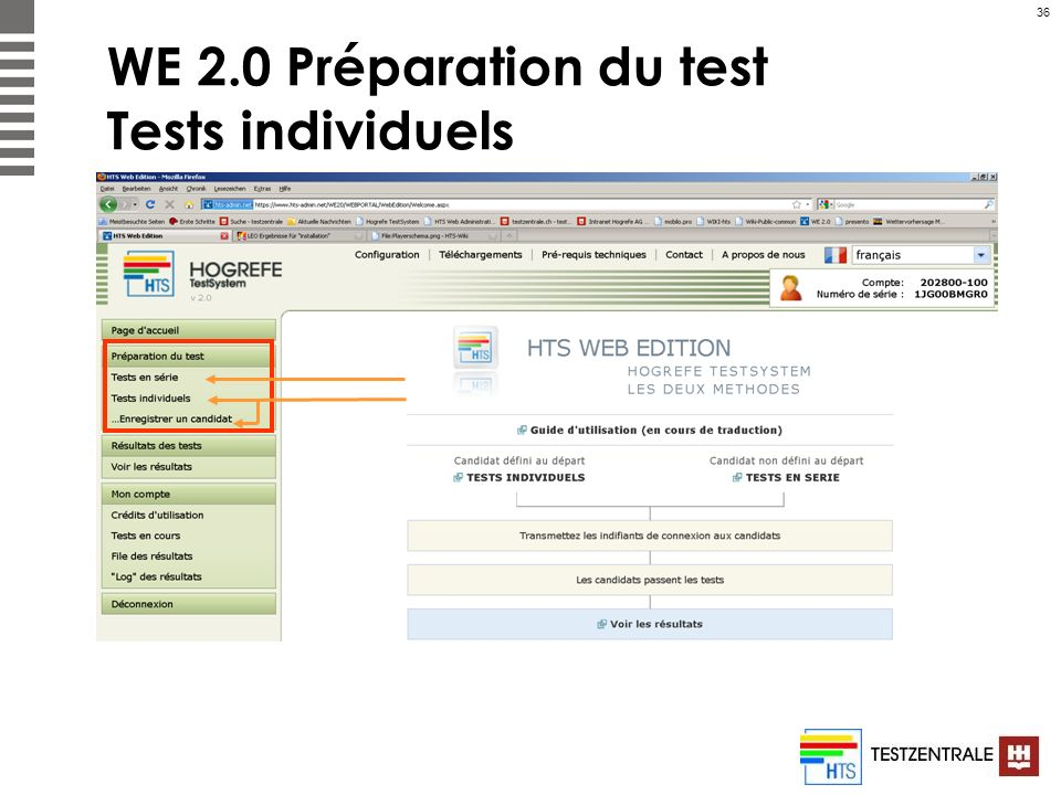 WE 2.0 Préparation du test Tests individuels