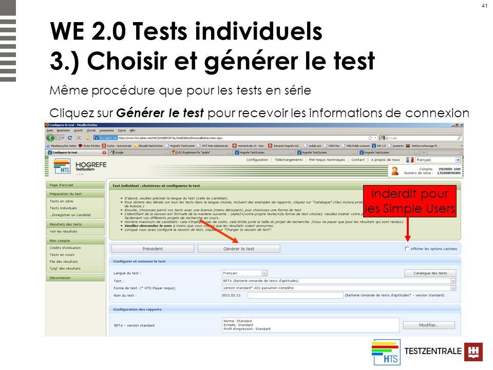 WE 2.0 Tests individuels 3.) Choisir et générer le test