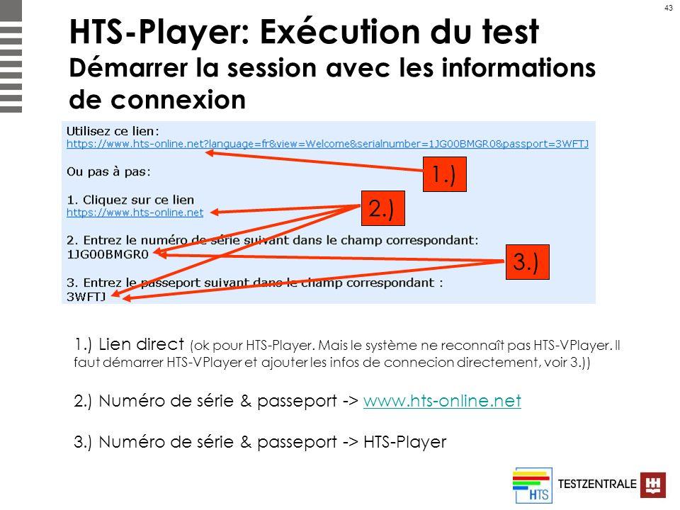 HTS-Player: Exécution du test Démarrer la session avec les informations de connexion