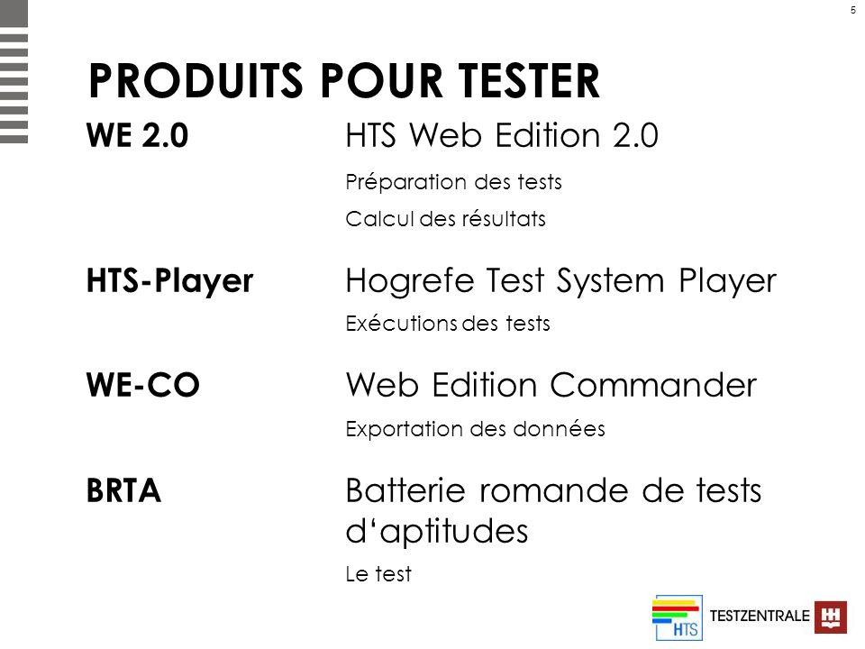 PRODUITS POUR TESTER WE 2.0 HTS Web Edition 2.0