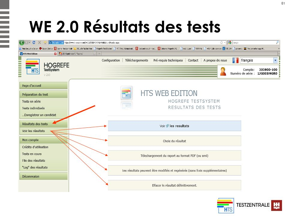 WE 2.0 Résultats des tests