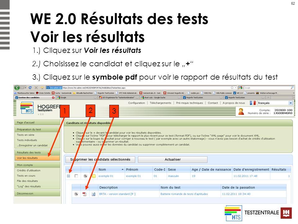 WE 2.0 Résultats des tests Voir les résultats