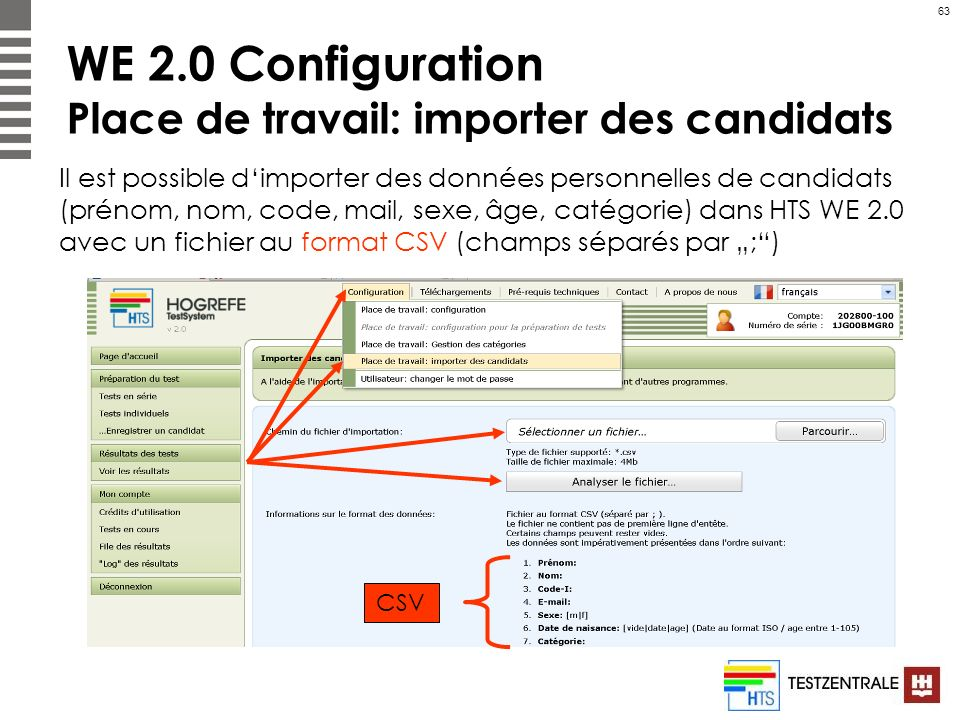 WE 2.0 Configuration Place de travail: importer des candidats