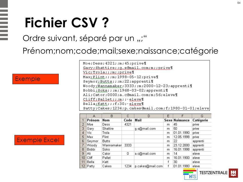 """Fichier CSV Ordre suivant, séparé par un """";"""