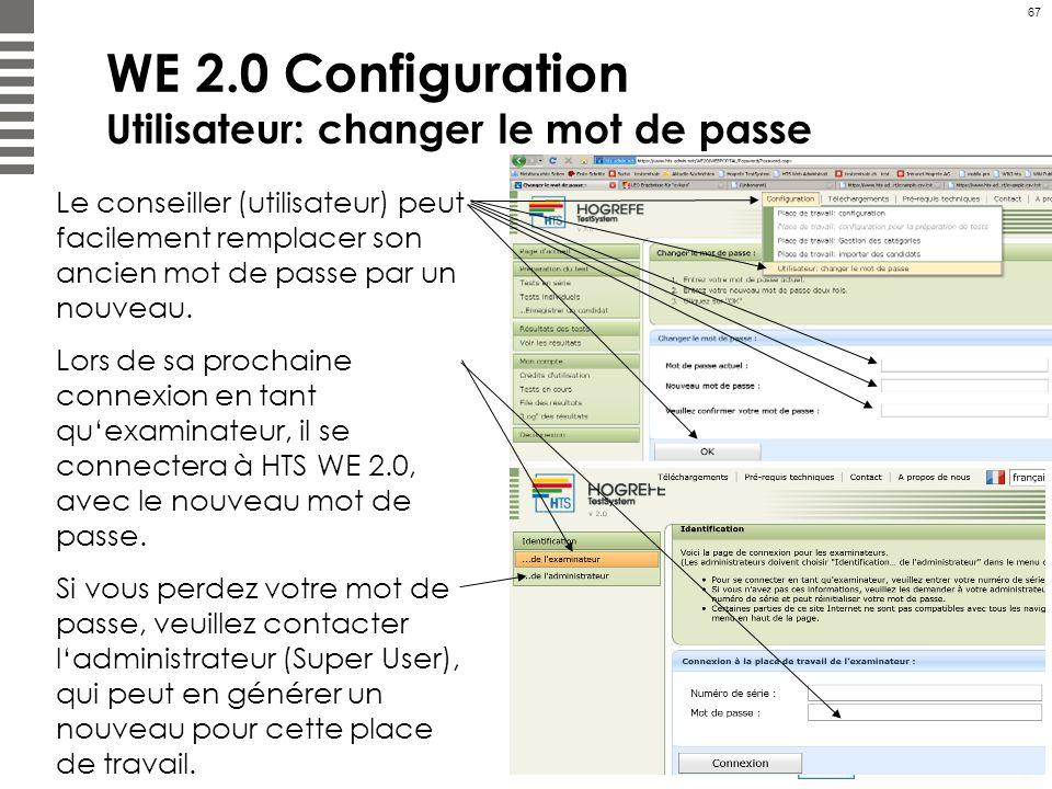 WE 2.0 Configuration Utilisateur: changer le mot de passe