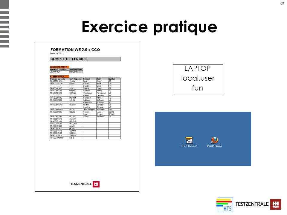 Exercice pratique LAPTOP local.user fun