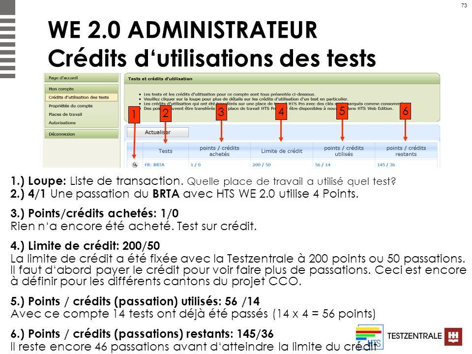 WE 2.0 ADMINISTRATEUR Crédits d'utilisations des tests
