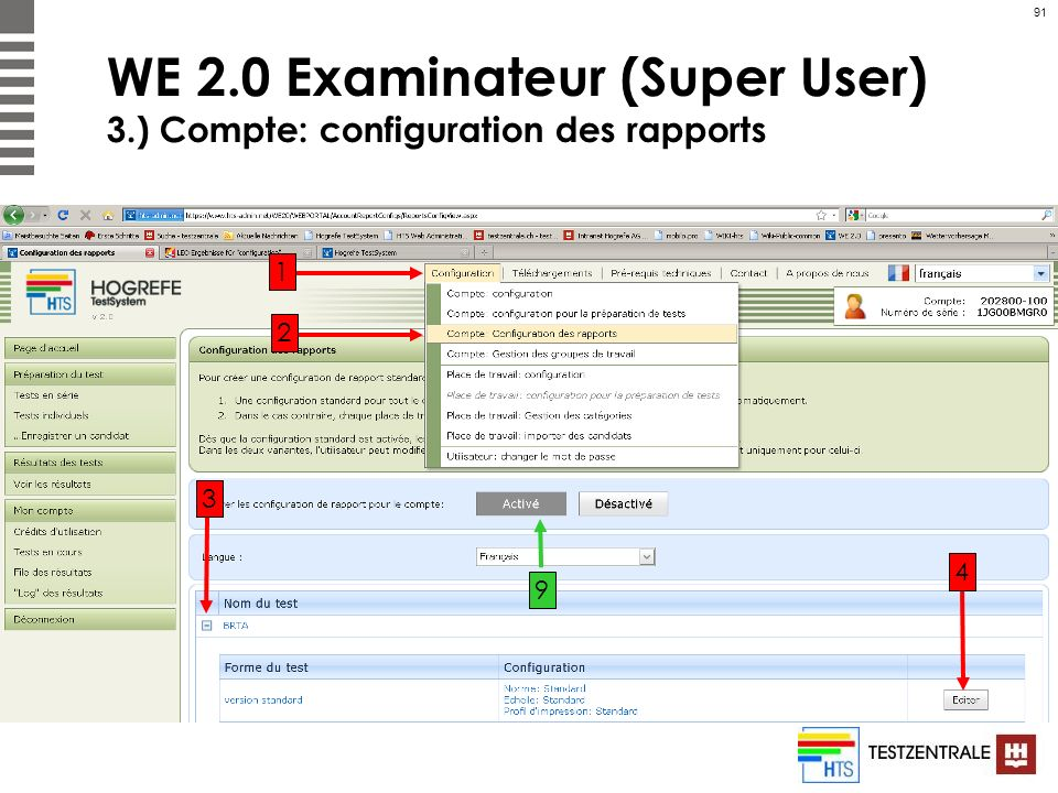 WE 2.0 Examinateur (Super User) 3.) Compte: configuration des rapports