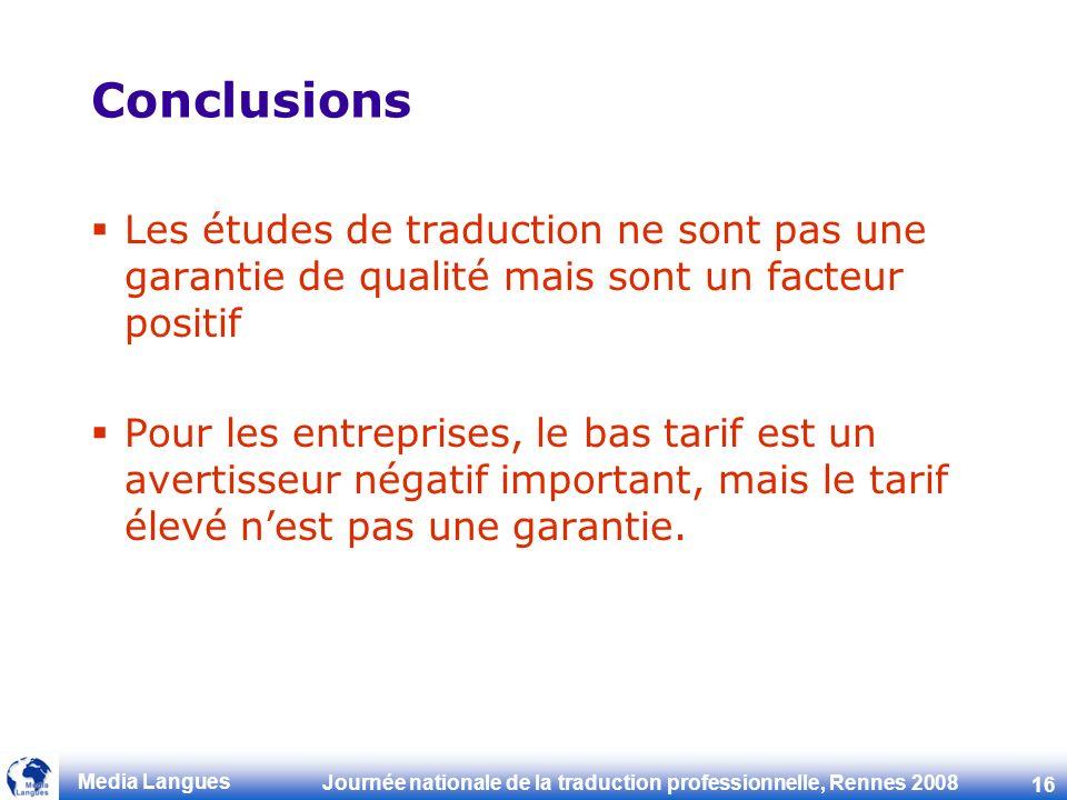 Conclusions Les études de traduction ne sont pas une garantie de qualité mais sont un facteur positif.