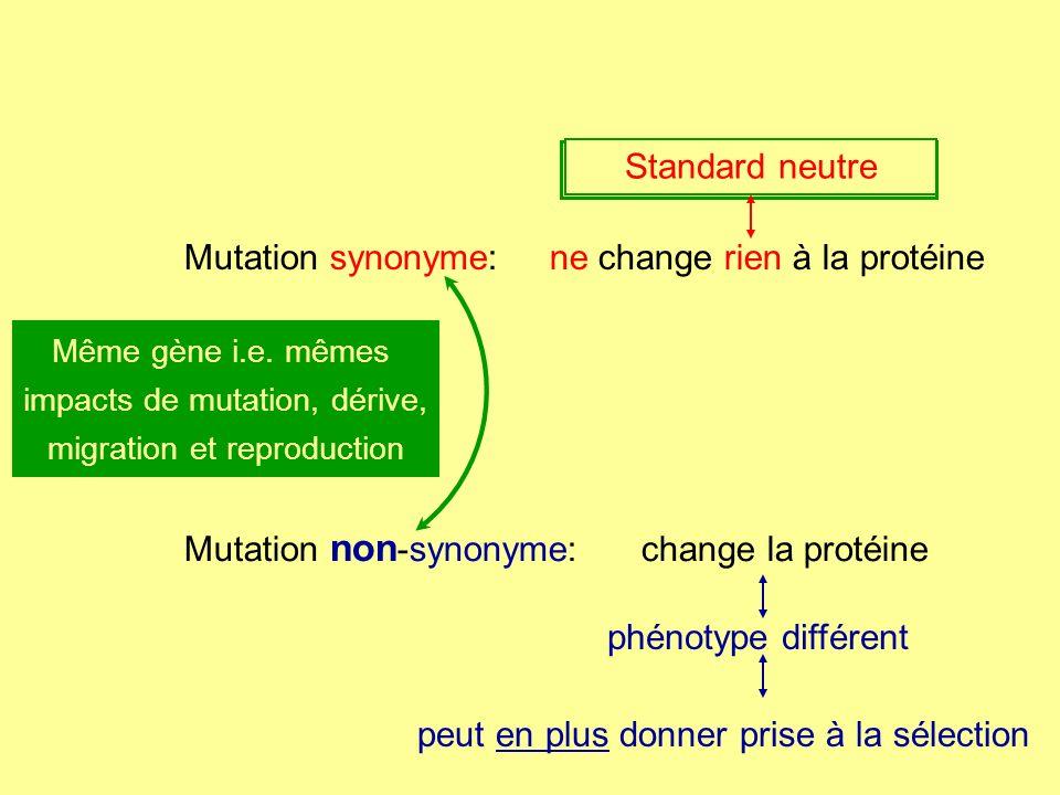 peut en plus donner prise à la sélection polymorphisme neutre