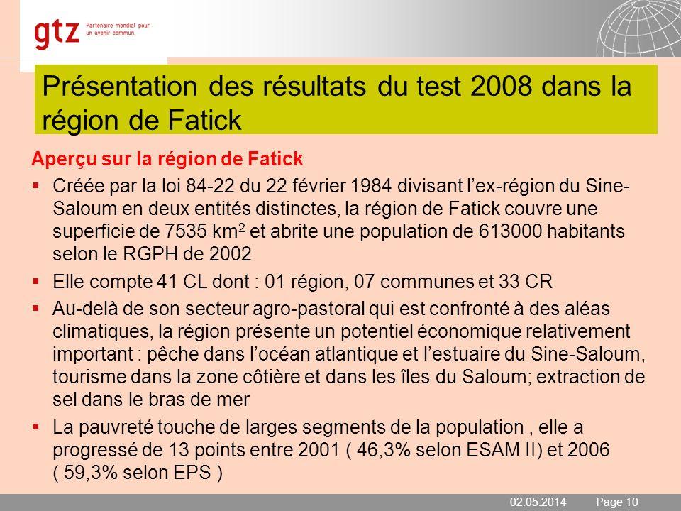Présentation des résultats du test 2008 dans la région de Fatick