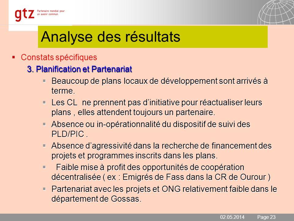 Analyse des résultats Constats spécifiques