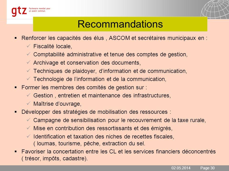 Recommandations Renforcer les capacités des élus , ASCOM et secrétaires municipaux en : Fiscalité locale,