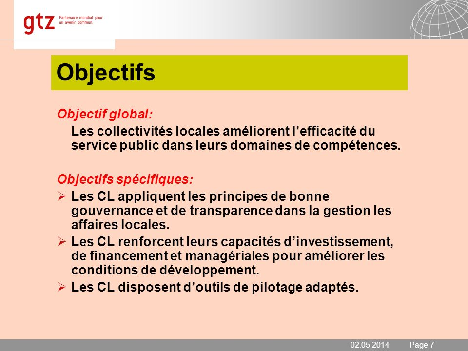 Objectifs Objectif global: