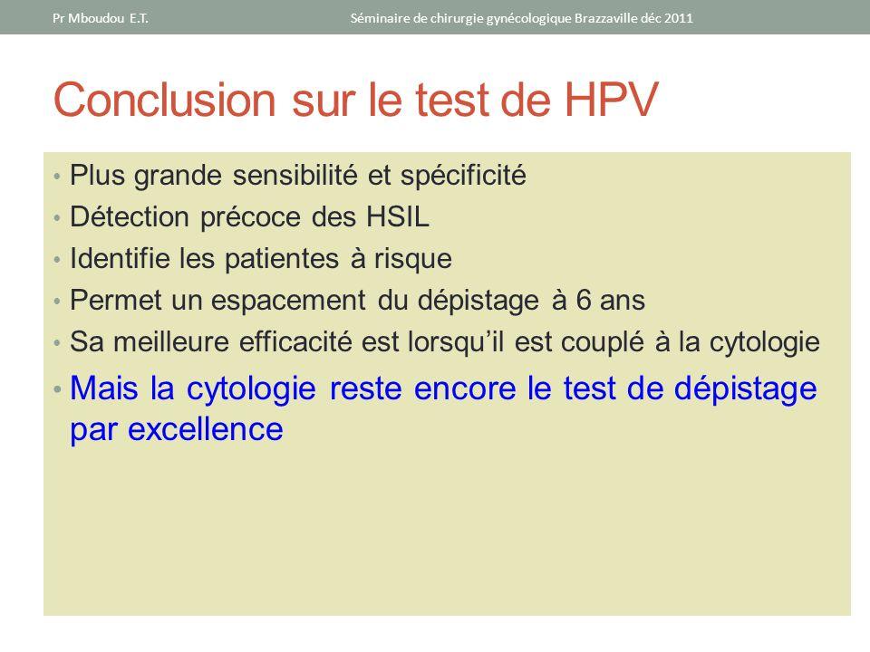 Conclusion sur le test de HPV