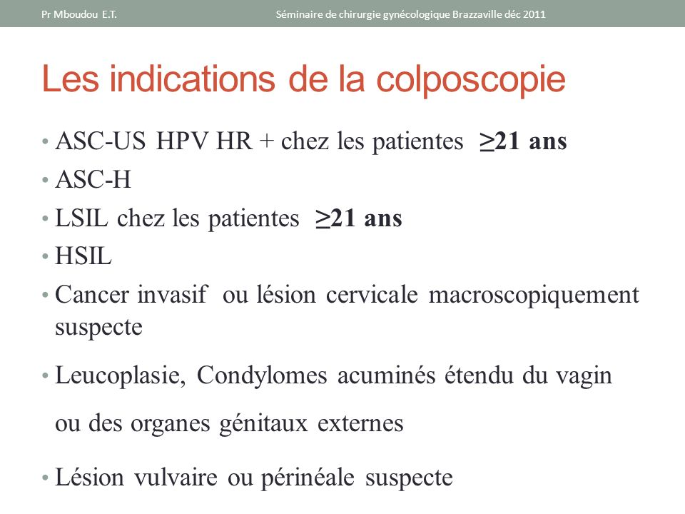 Les indications de la colposcopie