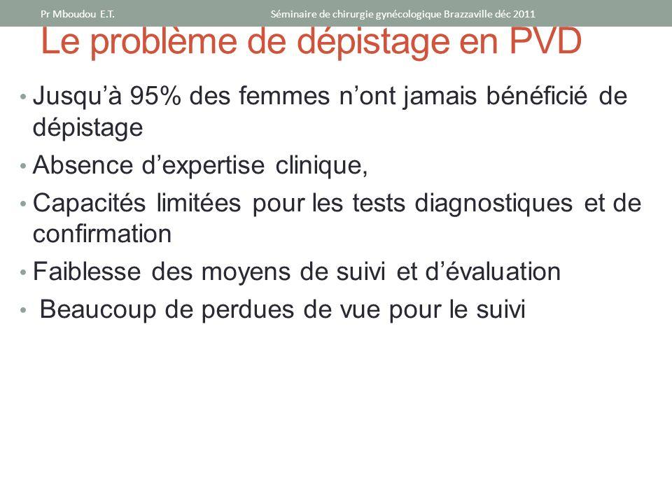 Le problème de dépistage en PVD