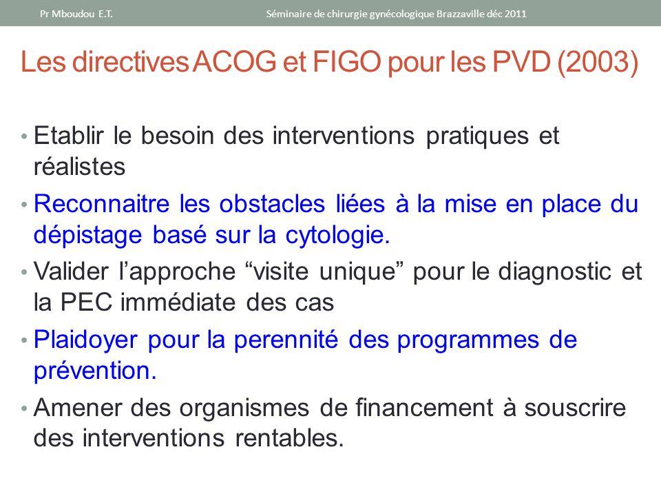 Les directives ACOG et FIGO pour les PVD (2003)