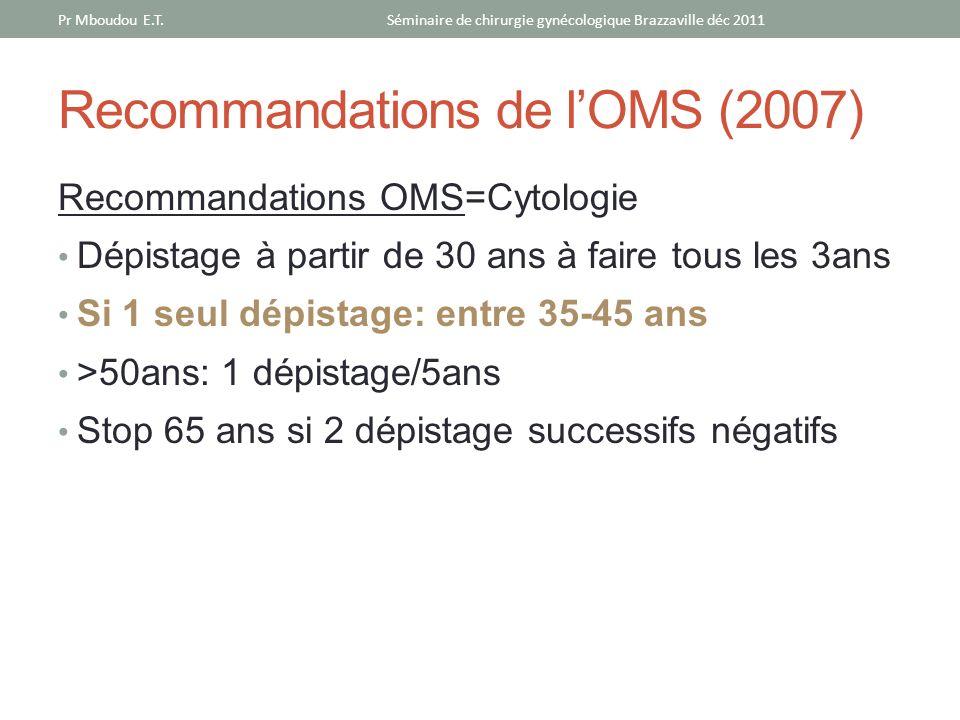 Recommandations de l'OMS (2007)