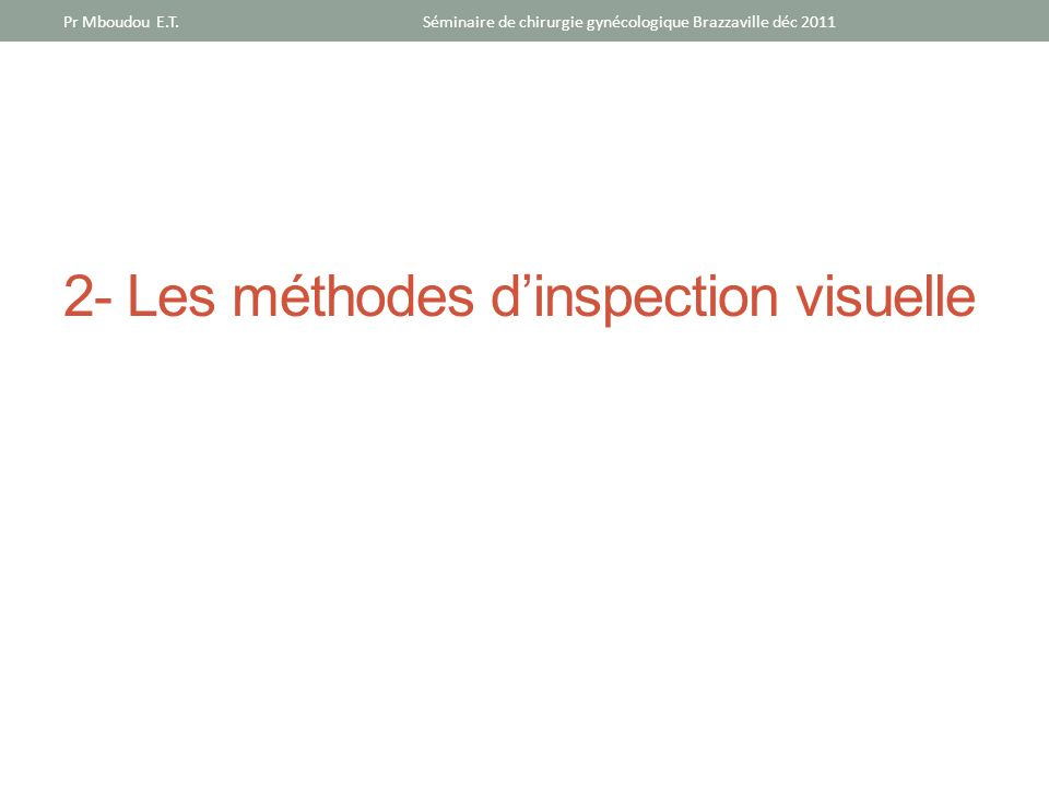 2- Les méthodes d'inspection visuelle